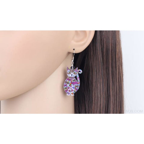 Image of Acrylic Colorful Cat Drop Earrings - Custom Made | Free Shipping