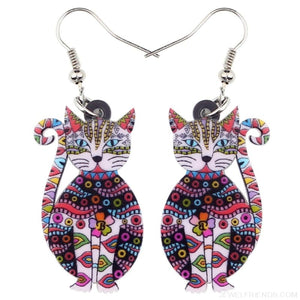 Acrylic Colorful Cat Drop Earrings