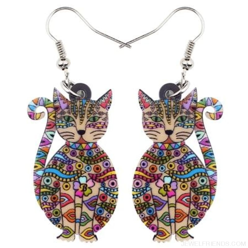Acrylic Colorful Cat Drop Earrings - Multicolor - Custom Made | Free Shipping