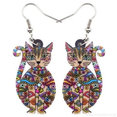 Image of Acrylic Colorful Cat Drop Earrings - Multicolor - Custom Made | Free Shipping