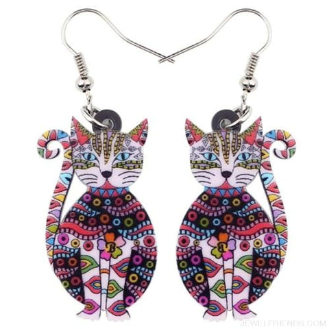Acrylic Colorful Cat Drop Earrings - Red - Custom Made | Free Shipping