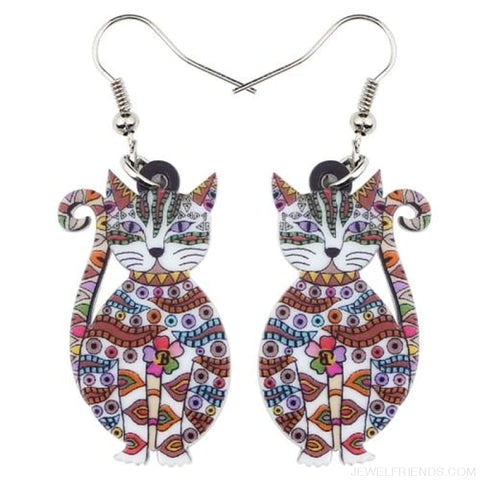 Image of Acrylic Colorful Cat Drop Earrings - White - Custom Made | Free Shipping