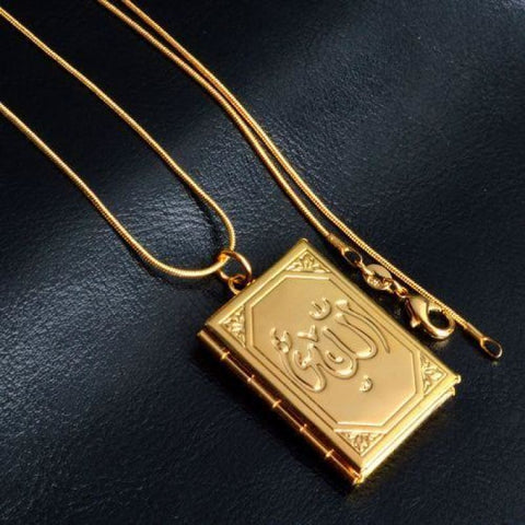 Image of Allah Photo Necklace Pendant - Flower Pattern Gold - Custom Made | Free Shipping