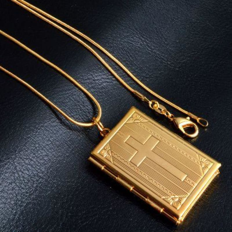 Allah Photo Necklace Pendant - Letter Pattern Gold - Custom Made | Free Shipping