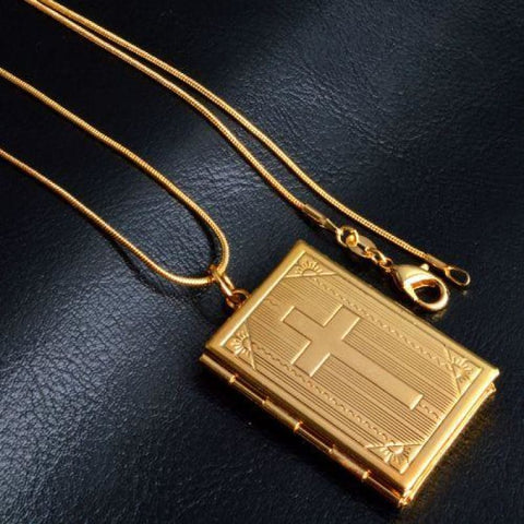 Image of Allah Photo Necklace Pendant - Letter Pattern Gold - Custom Made | Free Shipping