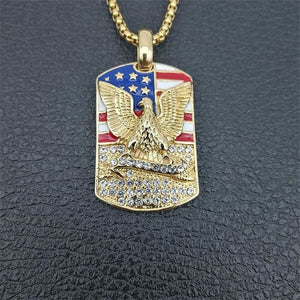 American Flag Chain Military Soldier Necklace