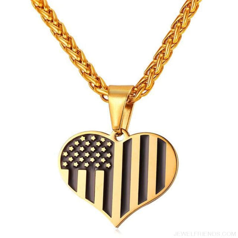 American Flag Stars And Stripes Pendant Necklace - Heart Gold / China - Custom Made | Free Shipping