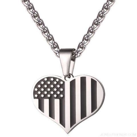 American Flag Stars And Stripes Pendant Necklace - Heart Steel / China - Custom Made | Free Shipping