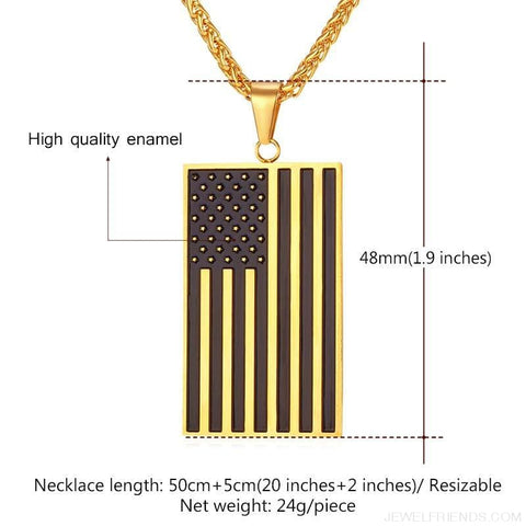 American Flag Stars And Stripes Pendant Necklace - Custom Made | Free Shipping