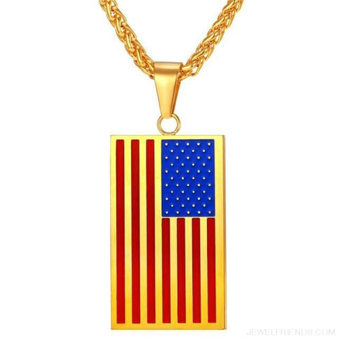 American Flag Stars And Stripes Pendant Necklace - Square Gold Blue / China - Custom Made | Free Shipping
