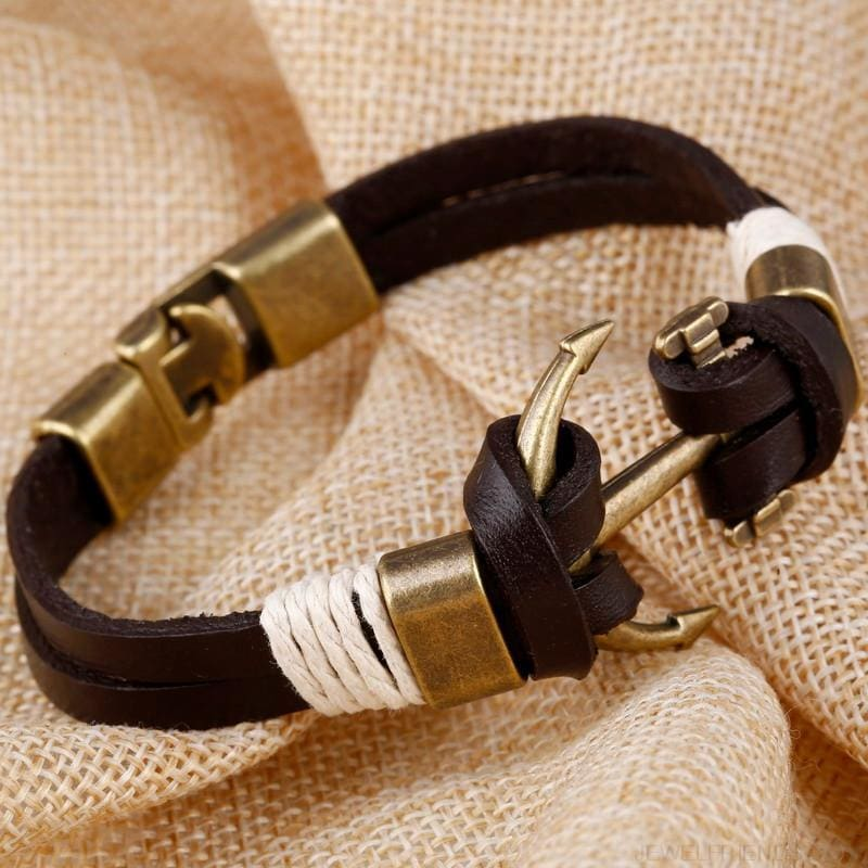 Anchor Wheel Leather Bracelets - Custom Made | Free Shipping