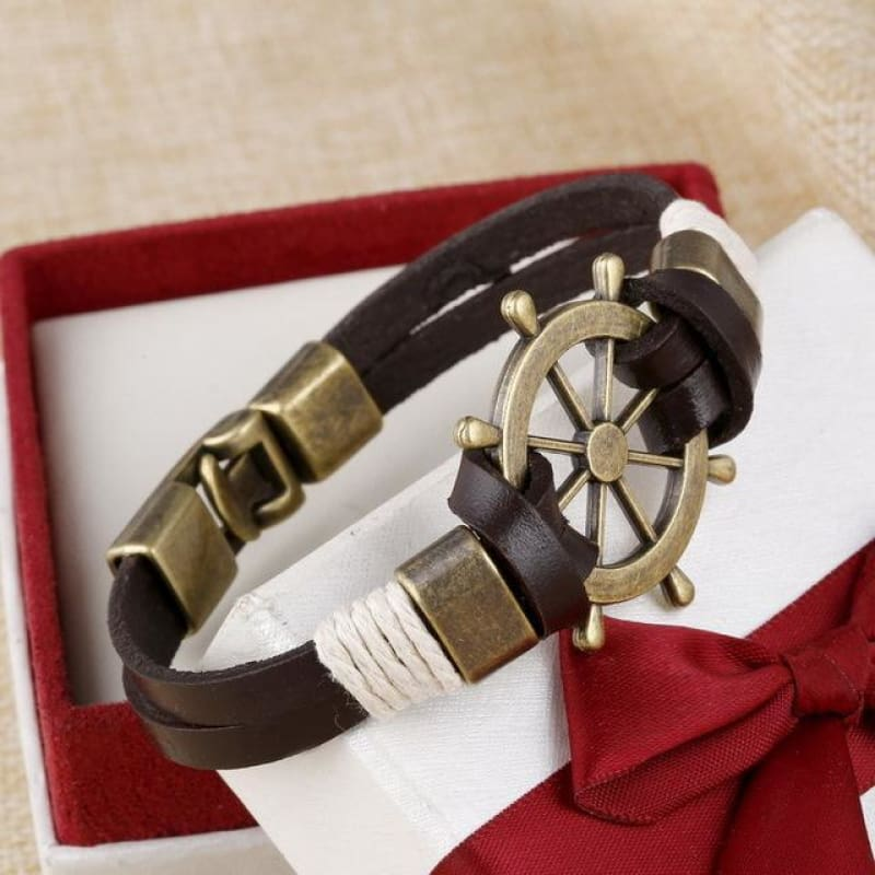 Anchor Wheel Leather Bracelets - Sl732Aaa - Custom Made | Free Shipping