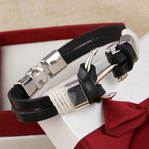 Anchor Wheel Leather Bracelets - Sl733Aaa - Custom Made | Free Shipping