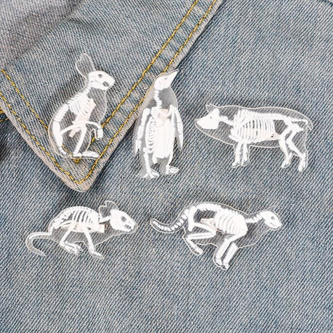 Image of Animal Skeleton Pin Brooch - Custom Made | Free Shipping