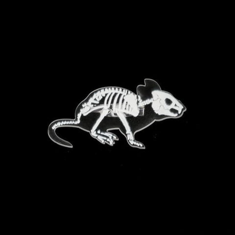 Image of Animal Skeleton Pin Brooch - Mouse - Custom Made | Free Shipping