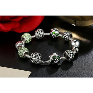 Antique Silver Charm Bracelet with Love and Flower Beads