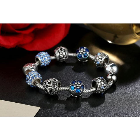 Image of Antique Silver Charm Bracelet With Love And Flower Beads - Custom Made | Free Shipping