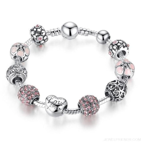 Antique Silver Charm Bracelet With Love And Flower Beads - Pa1455 / 20Cm - Custom Made | Free Shipping