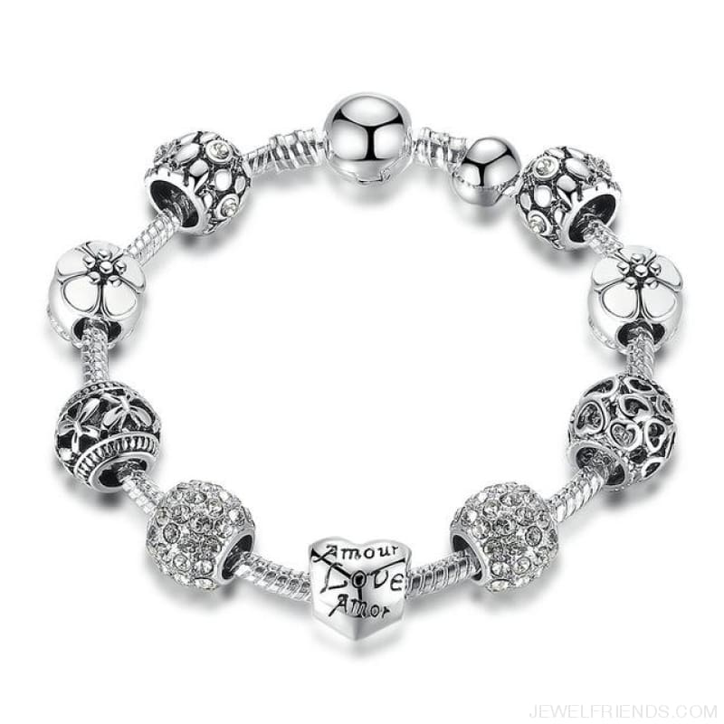 Antique Silver Charm Bracelet With Love And Flower Beads - Pa1503 / 20Cm - Custom Made | Free Shipping