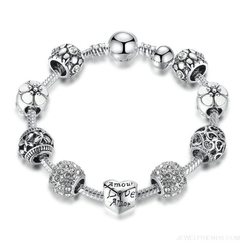 Image of Antique Silver Charm Bracelet With Love And Flower Beads - Pa1503 / 20Cm - Custom Made | Free Shipping