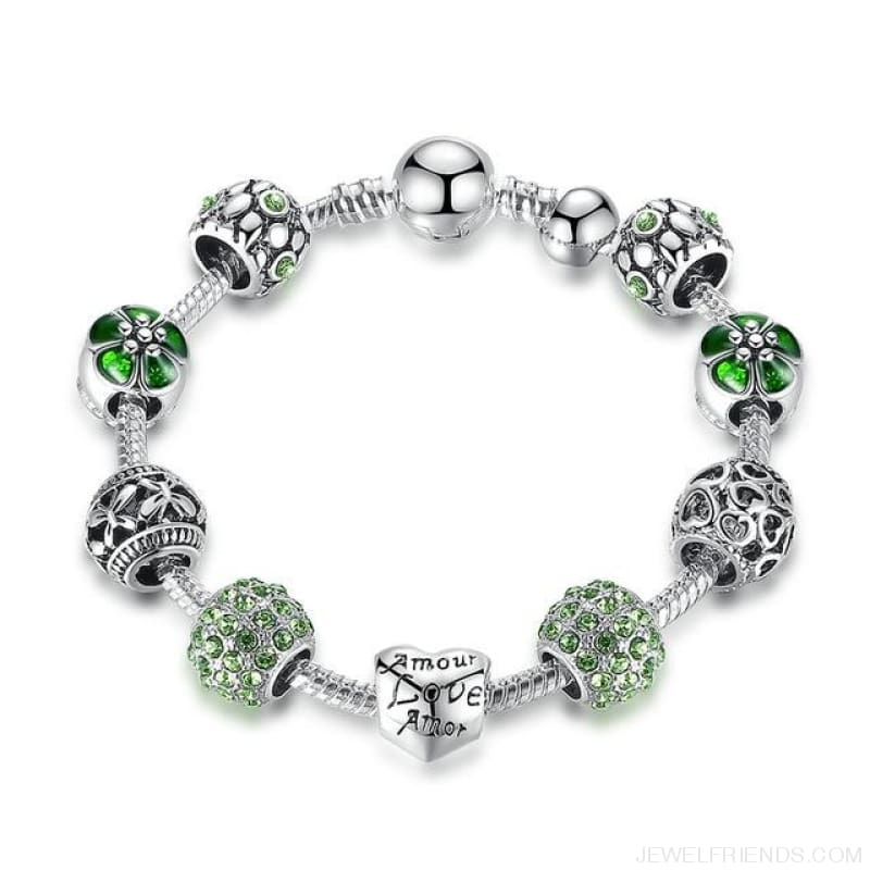 Antique Silver Charm Bracelet With Love And Flower Beads - Pa1504 / 20Cm - Custom Made | Free Shipping