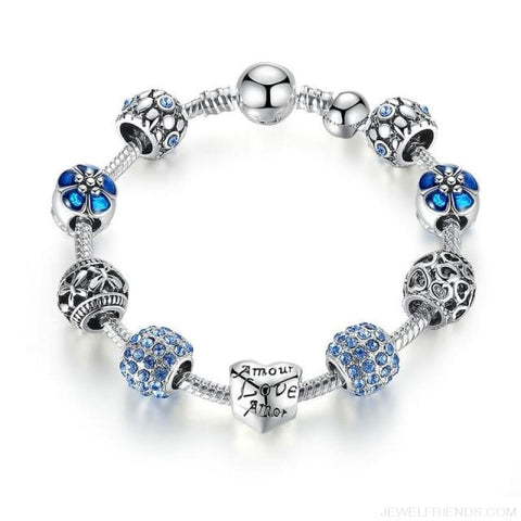 Image of Antique Silver Charm Bracelet With Love And Flower Beads - Pa1505 / 20Cm - Custom Made | Free Shipping