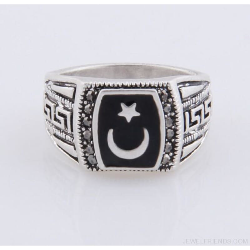 Antique Silver Color Moon & Star Ring Muhammed Muslim Islamic Arabic Ring - Custom Made | Free Shipping