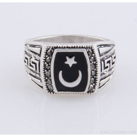 Image of Antique Silver Color Moon & Star Ring Muhammed Muslim Islamic Arabic Ring - Custom Made | Free Shipping