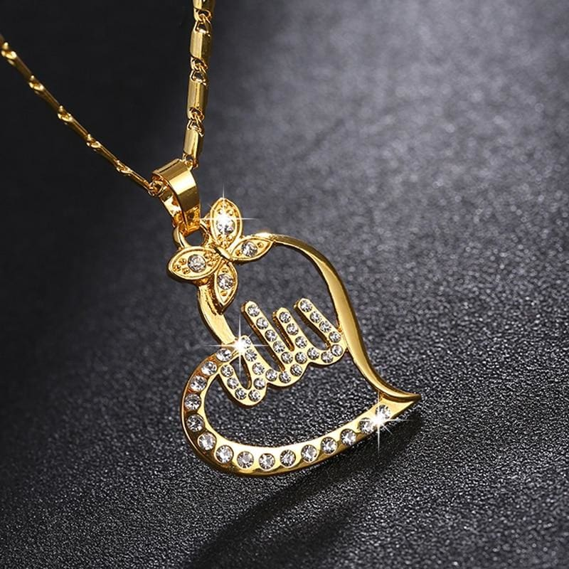 Arabic Gold-Color Muslim Heart Necklace - Custom Made | Free Shipping