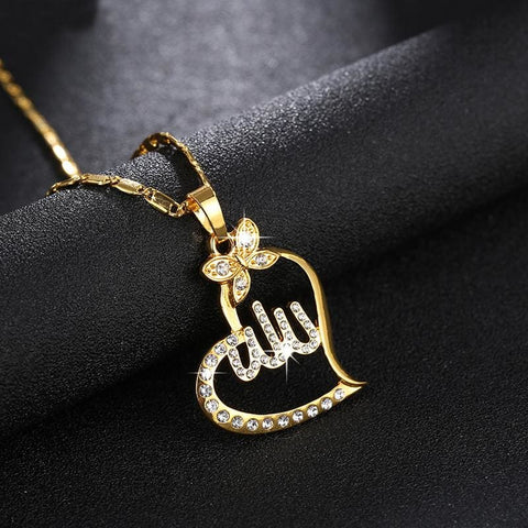 Image of Arabic Gold-Color Muslim Heart Necklace - Custom Made | Free Shipping