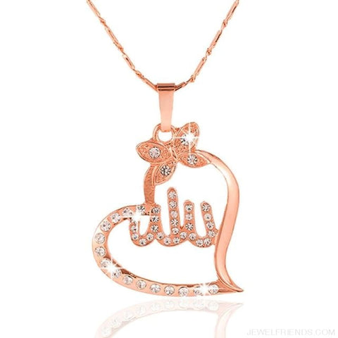 Image of Arabic Gold-Color Muslim Heart Necklace - Rose Gold / White / 45Cm - Custom Made | Free Shipping