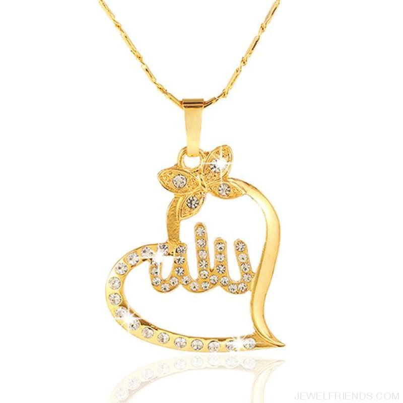 Arabic Gold-Color Muslim Heart Necklace - Gold / White / 45Cm - Custom Made | Free Shipping