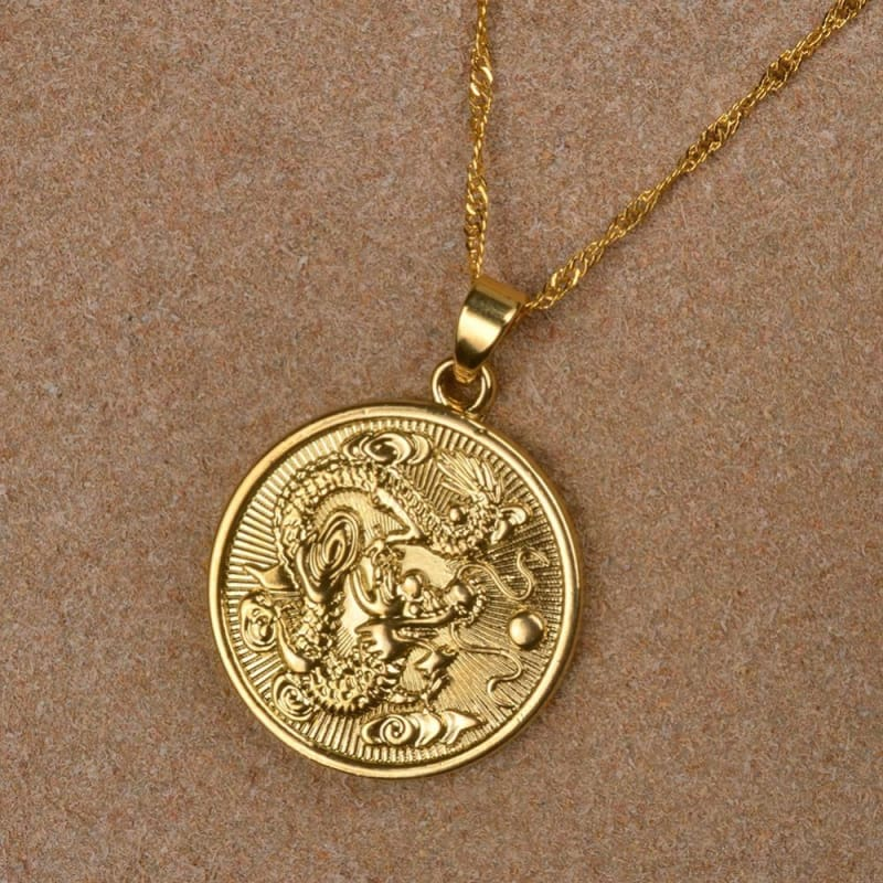 Auspicious Dragon Thin Chain Necklace - Custom Made | Free Shipping