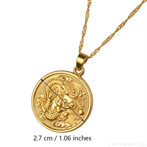 Image of Auspicious Dragon Thin Chain Necklace - Custom Made | Free Shipping