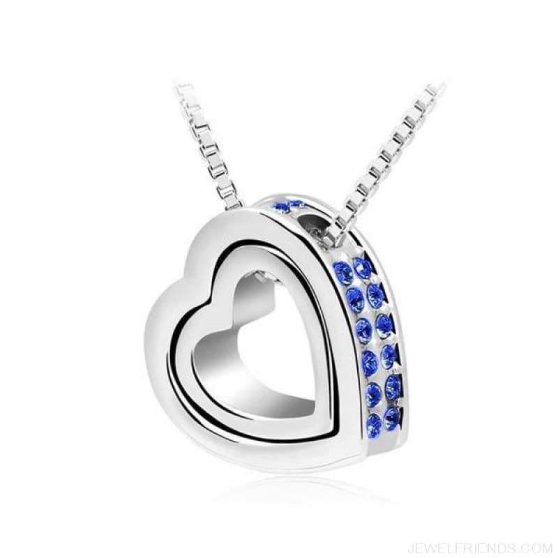 Austrian Crystal Aaaa+ Rhinestone Double Heart Pendant Necklace - Darkblue - Custom Made | Free Shipping