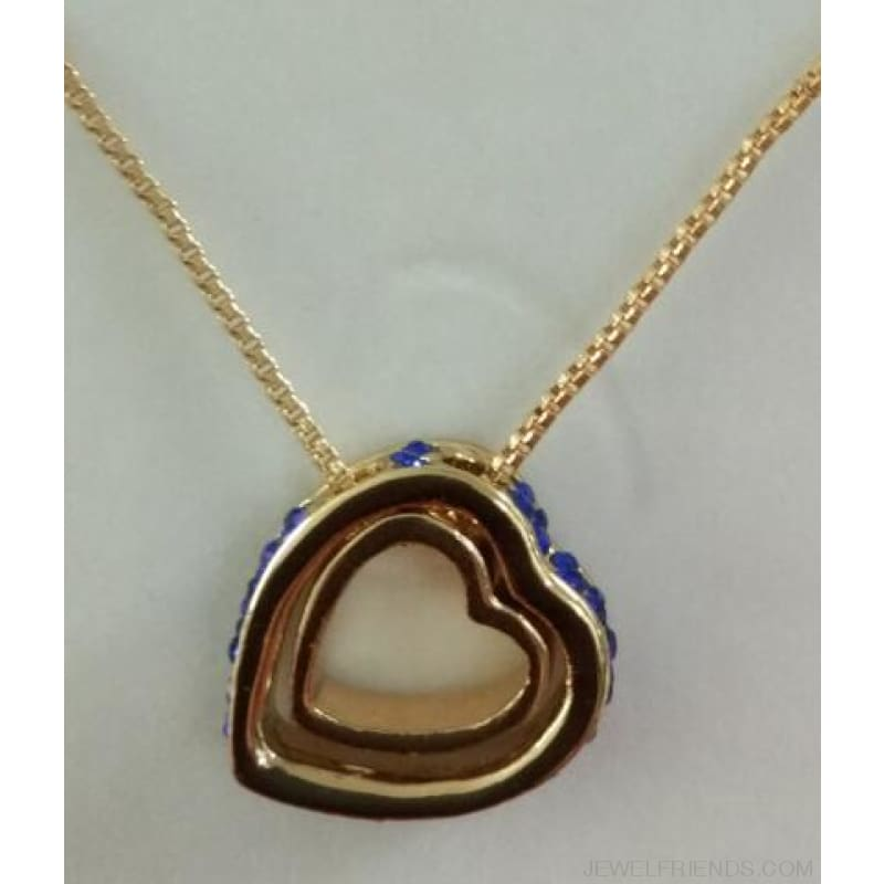 Austrian Crystal Aaaa+ Rhinestone Double Heart Pendant Necklace - Gold Darkblue - Custom Made | Free Shipping