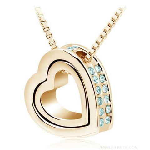 Image of Austrian Crystal Aaaa+ Rhinestone Double Heart Pendant Necklace - Gold Oceanblue - Custom Made | Free Shipping