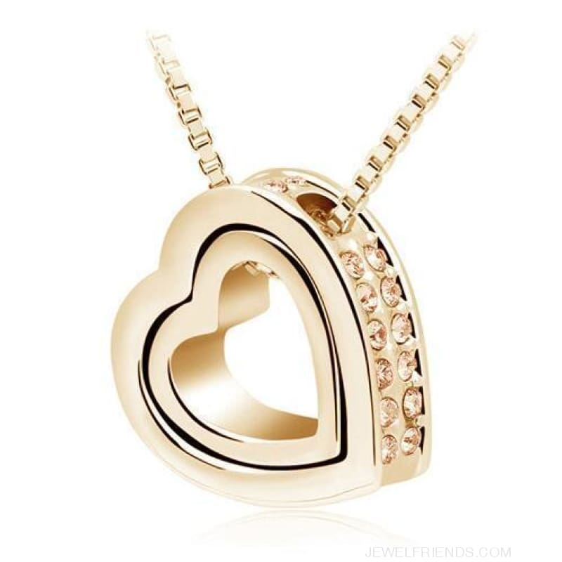 Austrian Crystal Aaaa+ Rhinestone Double Heart Pendant Necklace - Gold Peachcolor - Custom Made | Free Shipping
