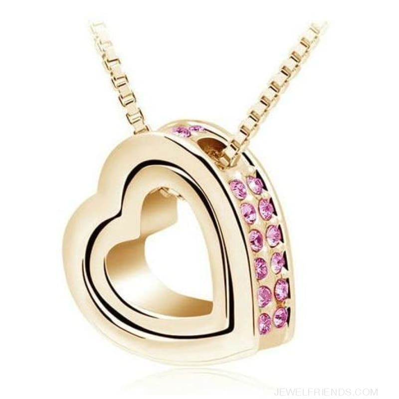 Austrian Crystal Aaaa+ Rhinestone Double Heart Pendant Necklace - Gold Pink - Custom Made | Free Shipping
