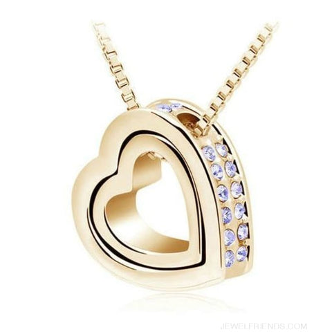 Image of Austrian Crystal Aaaa+ Rhinestone Double Heart Pendant Necklace - Gold Purple - Custom Made | Free Shipping