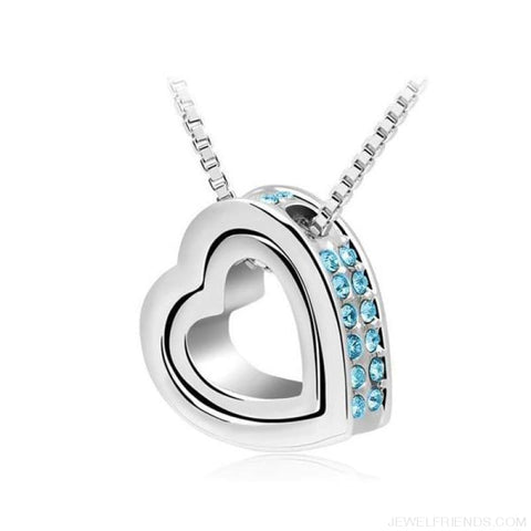 Image of Austrian Crystal Aaaa+ Rhinestone Double Heart Pendant Necklace - Oceanblue - Custom Made | Free Shipping