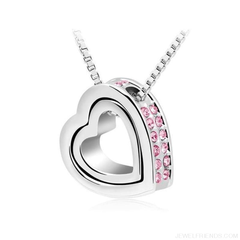 Austrian Crystal Aaaa+ Rhinestone Double Heart Pendant Necklace - Pink - Custom Made | Free Shipping
