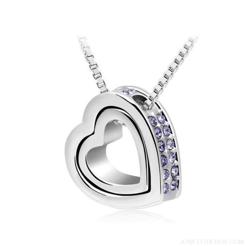 Austrian Crystal Aaaa+ Rhinestone Double Heart Pendant Necklace - Purple - Custom Made | Free Shipping