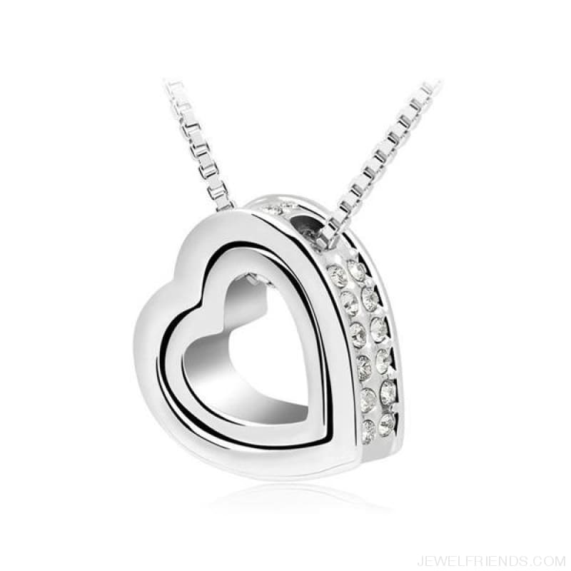 Austrian Crystal Aaaa+ Rhinestone Double Heart Pendant Necklace - White - Custom Made | Free Shipping