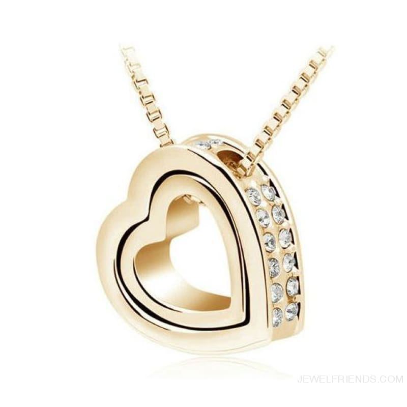 Austrian Crystal Aaaa+ Rhinestone Double Heart Pendant Necklace - Yellow Gold White - Custom Made | Free Shipping