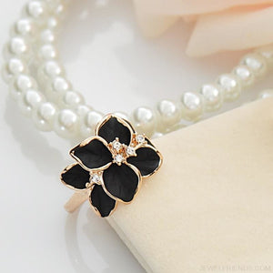 Austrian Crystal Black Enamel Flower Rings