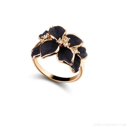 Austrian Crystal Black Enamel Flower Rings - Mf718 - Custom Made | Free Shipping