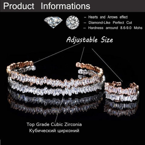 Image of Baguette Cubic Zirconia Cuff Bracelet - Custom Made | Free Shipping