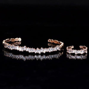 Baguette Cubic Zirconia Cuff Bracelet - Rose Gold - Custom Made | Free Shipping