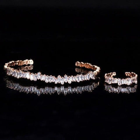 Image of Baguette Cubic Zirconia Cuff Bracelet - Rose Gold - Custom Made | Free Shipping